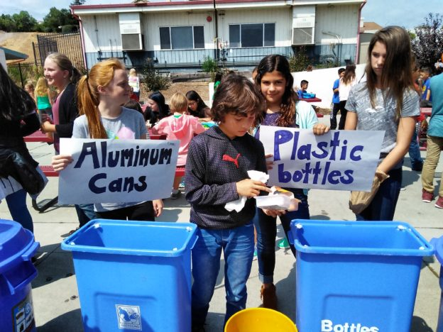 The BV Ocean Pollution Solution club encourages recycling during lunch.